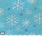 Snowfall Snowflakes- Blizzard Aqua - Cotton Metallic Glitter Fabric from Michael Miller