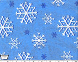 Snowfall Snowflakes- Blue - Cotton Metallic Glitter Fabric from Michael Miller