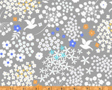 Faith, Hope and Love - Grey Doves Cotton Print with Metallic by Whistler Studios from Windham Fabrics