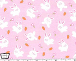Bunny Love - Bunnies Pink - Cotton Flannel Fabric from Michael Miller