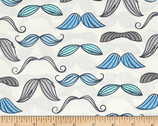 Mustache Blue - Organic Cotton Print Fabric from Timeless Treasures