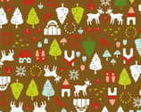 North Pole Ditsy - Chocolate Brown Cotton Print Fabric from Alexander Henry