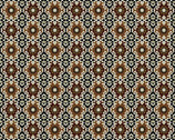 Imperial Gardens - Expresso Medallions - Cotton Print Fabric with Metallic Accents from Benartex