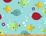 Ahoy Matey! Fish Aqua by Whistler Studios from Windham Fabrics