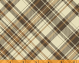 Postcards from the Lodge - Brown Plaid Cotton Print Fabric from Windham Fabrics