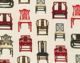 Asian Traditions - Vintage Chairs with Metallic from Robert Kaufman