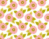 Sunburst White Pink Flowers from Blend Fabrics