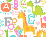 A is for Apple Pink Animals Dinosaurs from Blend Fabrics
