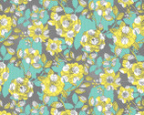 Climbing Vines Grey Flowers from Blend Fabrics