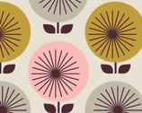 "Time Warp - Sunburst Olive - 54"" Organic Barkcloth by Jessica Jones from Cloud 9 Fabrics"