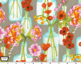 Vignette - Posie Bouquet Bloom Gray by Laura Gunn from Michael Miller