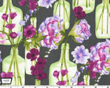 Vignette - Posie Bouquet - Charcoal Purple by Laura Gunn from Michael Miller
