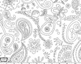 Color Me - Princess Paisley White by Hayley Crouse from Michael Miller