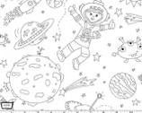 Color Me - To the Moon and Back White by Hayley Crouse from Michael Miller