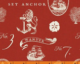 Hidden Cove - Sea Emblems Red by Sue Schlabach from Windham Fabrics