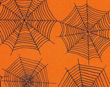 Scaredy Cat - Orange Spider Webs from Wilmington Prints