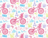 I Love Paris - White Paris Bicycles from Timeless Treasures