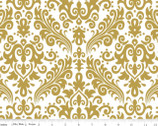 Sparkle Pearlized Cottons - Sparkle Gold Medium Damask from Riley Blake
