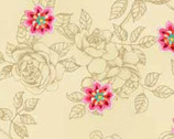 Bohemian Rose - Cream Flowers from Red Rooster Fabrics