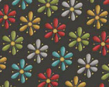 Purrsnickitty - Dark Grey Flower from Red Rooster Fabrics