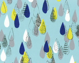 Isso Ecco & Heart 2015 - Aqua Raindrops - OXFORD Cotton from Lecien Japan