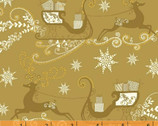 Glisten - Gold Reindeers by Whistler Studios from Windham Fabrics