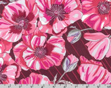In The Bloom - Pomegranate Pink Big Poppies by Valori Wells from Robert Kaufman
