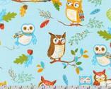 Forest Fellows - Owls Wild Blue Aqua by Sea Urchin Studio from Robert Kaufman