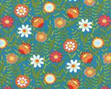 Bloomin Fresh - Floral Fresh Sky Aqua from Moda