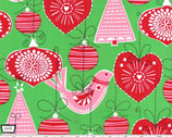 Ornaments for All - Green Holiday Ornaments - Cotton Print Fabric from Michael Miller