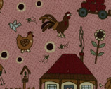 Mending Fences - Pink Farm by Lynette Anderson Designs from Lecien Japan