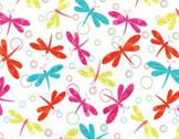 White Dragonfly Swirl by Kanvas from Benartex