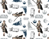 Star Wars 7 The Force Awakens - Multi Star Wars Rey White from Camelot Cottons