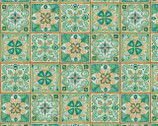 Majestic Beauties - Green Tiles by Daphne B from Wilmington Prints