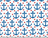 Fabulous Foxes - Anchors Dot White by Andie Hanna from Robert Kaufman