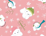 Winter Wonderland - Pink Polar Bear by Heather Rosas from Camelot Cottons