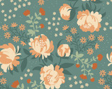 Acorn Trail Canvas - Peonies Blue - Organic CANVAS Fabric from Birch Fabrics