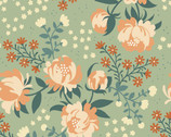 Acorn Trail Canvas - Peonies Mint - Organic CANVAS Fabric from Birch Fabrics