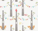 Circa 52 - Woodland Party Cream - Organic Cotton Fabric by Monaluna from Birch Fabrics