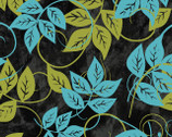 Florianna - Black Leaves from P & B Textiles