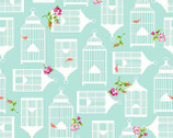Garden Gate - Teal Birdcages from P & B Textiles