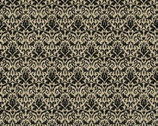 Homespun Holiday - Black Damask with Metallic from Benartex