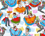Mexican Folklore Ballet - White from David Textiles
