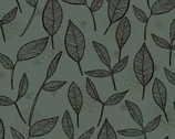 Ladybug Blooms - Grey Toss Leaves by Anne Bollman from Clothworks