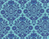 On the Wing - Robins Egg Florals Damask by Abi Hall from Moda