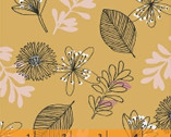 Whisper - Leaves and Flowers Mustard Tan by Victoria Johnson from Windham Fabrics