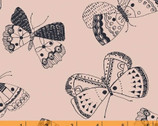 Whisper - Mono Butterflies Pale Pink by Victoria Johnson from Windham Fabrics