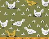 Gardening - Chickens Green by Dinara Mirtalipova from Windham Fabrics