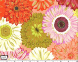 Valencia - Dahlia Mix Orange with Metallic Accents by Laura Gunn from Michael Miller