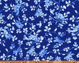 Annabelle - Medium Floral Blue by Williamsburg from Windham Fabrics